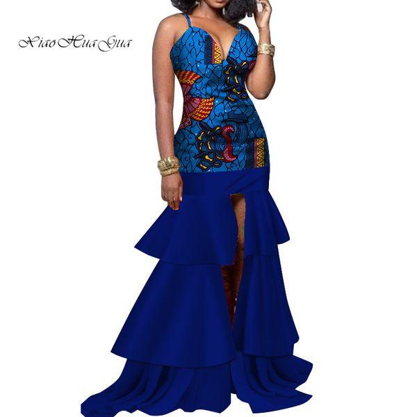 African Batik Wax Print Bodycon Sexy Off Shoulder Deep V-neck Long Dress Evening Party Dress African Dresses for Women wy3564