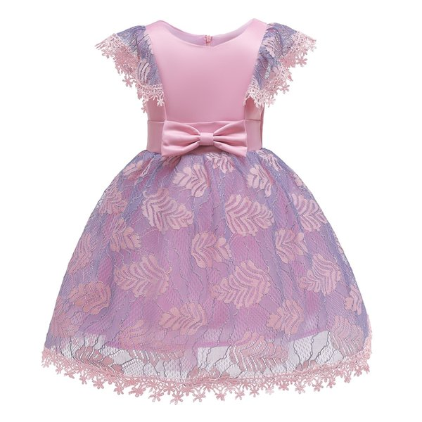 School party dress flower cute dress for little girl 3-12 years old butterfly tie decoration