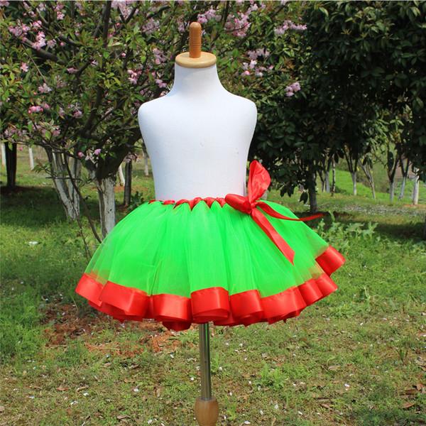 Falda de tutú para niñas Falda de fiesta de Navidad roja y verde Falda de Pettiskirt Faldas para niñas de 2 a 12 años Baile de ballet para bebés