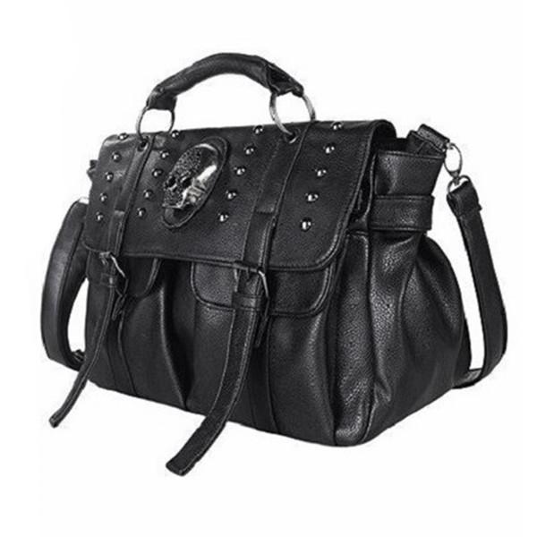 JHD-Sac à bandoulière Lady Fashion Bag Designer Punk Skull Rivet Sac All-Match pour femmes Noir Grand Fourre-tout # 140794