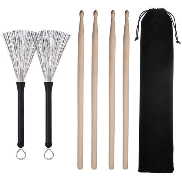 top popular 2 Pair 5A Drum Sticks Classic Maple Wood Drumsticks Sets and 1 Pair Drum Wire Brushes Retractable Drum Sticks Brush with 1 Stora 2021