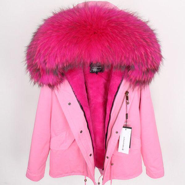 Good quality Rosered velvet furs Liner Liner Detachable Women's mini furs coats hooded with Raccoon fur collar Sweden Norway dunjacka