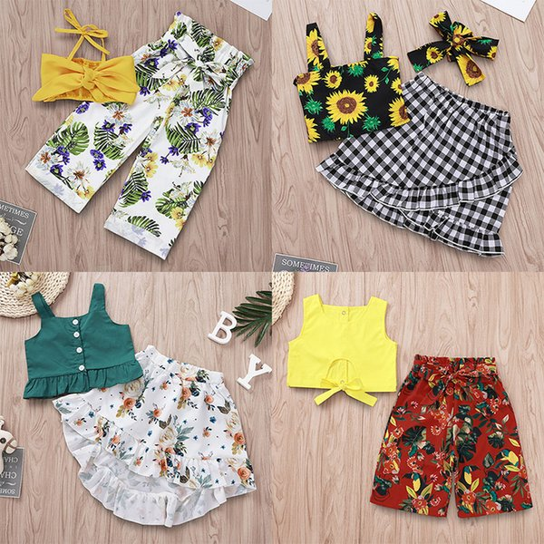 top popular kids designer clothes girls Floral Print outfits children Tops+Flower plaid pants suits 2019 fashion Boutique baby Clothing Sets C6573 2021