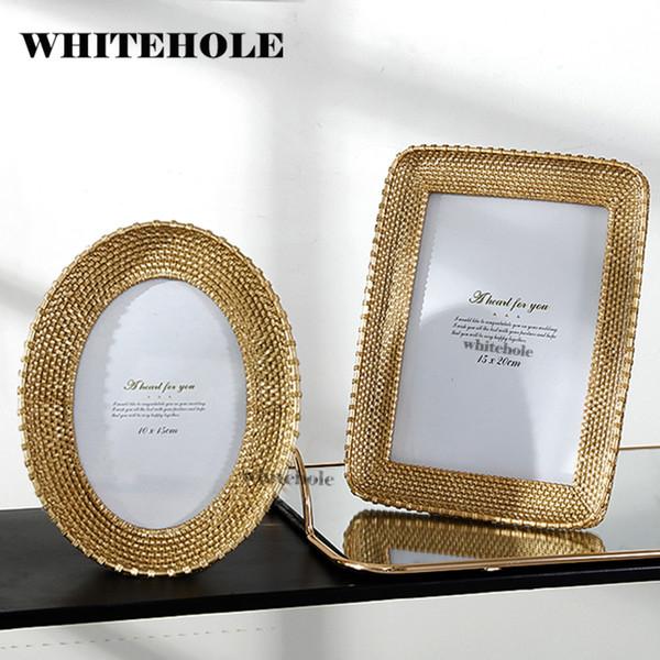 Resin Picture Frame Photo Golden Photo Frame Ellipse Round Square Creative Desktop Decor Wedding Gift