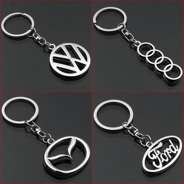 2 Pieces 3D Car Logo Keyring Keychain Auto Key Ring Key Chain Holder Keyfob For Volkswagen Audi Mazda Ford Car Styling Accessories