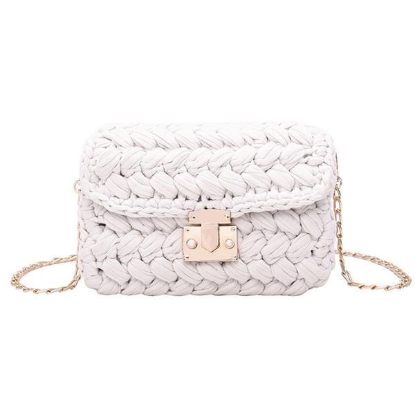 New Fashion Hot Ins Woven Knitting Handbag Women Flaps Messenger Bag Cotton Fabric Handmade Plait Cover Shoulder Bag