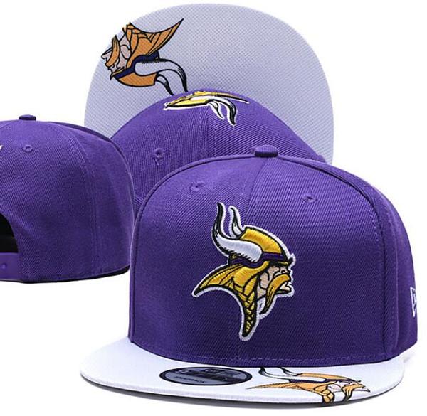 2019 Top Quality Men's Vikings Snapback Hats Printed Visor Embroidered Logo Brands Cheap Sports Baseball Fans Hat Fashion Adjustable Caps