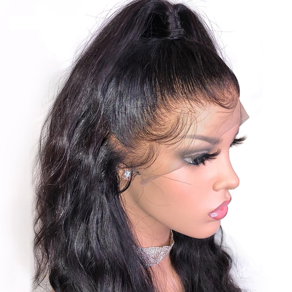 Lace Front Human Hair Wigs silk Straight Pre Plucked Natural Hairline Baby Hair Virgin Hair Frontal Wigs from qtfnhair Tiffany Store