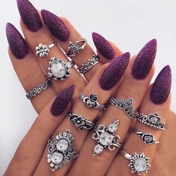 Hot Fashion Jewelry Ancient Silver Gold Knuckle Ring Set Crown Flower Turtle Stacking Rings Midi Rings Set 13pcs/set S345