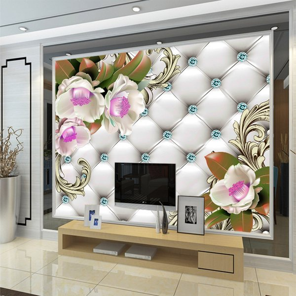 3d modern fashion flowers butterfly soft leather with diamond texture mural wallpaper TV sofa bedroom background Wall decor