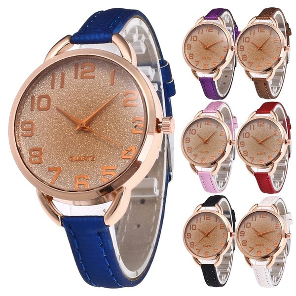 7 Colors Korean Style Women Female Simple Fashion Quartz High Quality Watch Leather Band Lady Wristwatch Watchband For Gift