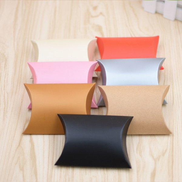 Fashion 10pcs/set Colorful Kraft Paper Present Pouch Birthday Supply Chic Candy Box Gift Pillow Shaped Home Party Wedding Favors D19011702