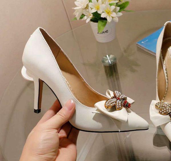 2019 new arrival ladies high heels stiletto black white bowtie slip on pumps sheep skin leather italian wedding bridal shoes woman scarpin