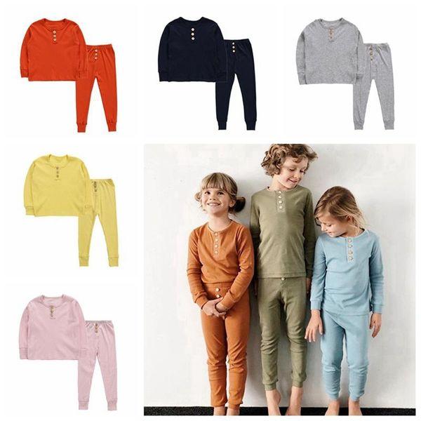 Kinder Kleidung Set Mode einfarbig Langarm-Knopf-Top und Hose Baumwolle Pyjama Kinder Casual Nachtwäsche