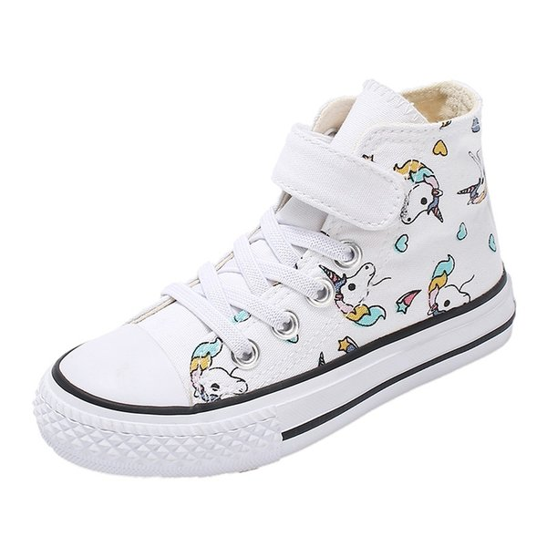 swonco children's canvas shoes boys white shoes sneakers high 2020 spring unicorn high white sneakers for girl casual, Black