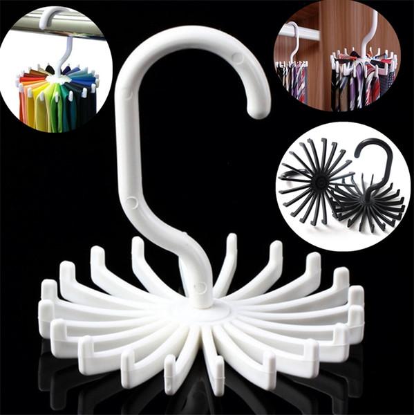 Nuevo organizador giratorio de rack organizador de perchas organizador de armarios colgante de almacenamiento bufanda de rack rack de corbata sostiene corbatas gancho T2I060