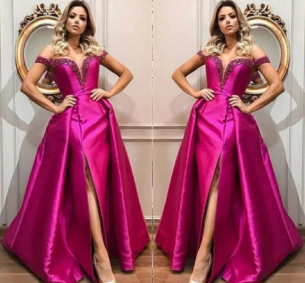 Robes de soirée sur mesure fuchsia train hors épaule perles Sequin Front Side Split robes de bal des célébrités Satin tapis rouge robes de soirée