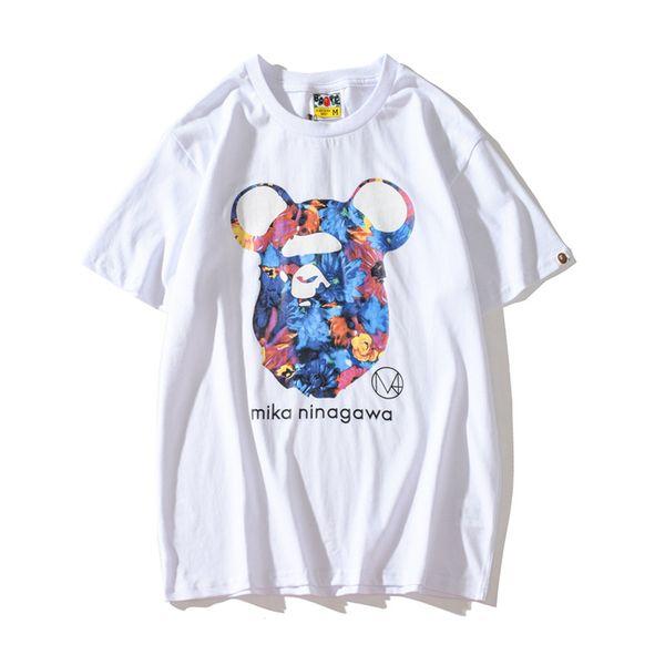 Venta al por mayor Verano Nueva Moda Amante Negro Blanco de dibujos animados Imprimir Camisetas de manga corta Adolescente Casual Hip Hop Camisetas Tops
