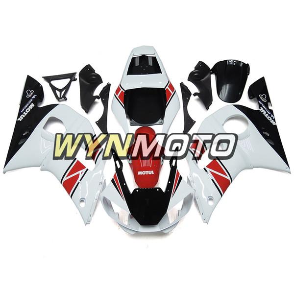 100% adatto per 1998 1999 2000 2001 2002 Yamaha YZF-600 R6 Kit carena completo YZF 600 R6 Cowling Bianco rosso Carrozzeria personalizzata Carrozzeria