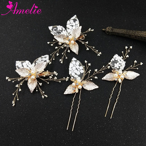 Simple Bridal Headpiece Hair Clip and Bobby Pin Set Wedding Hair Accessories Lace Design Barrette Fork Party Headwear