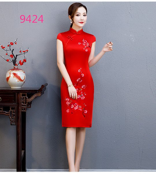 Popular 2 Colors Summer 2019 New Mulberry Silk Embroidery Cheongsam Dress Popular Daily Short Sleeve Mid-Length High Slit Skirt HQ0002