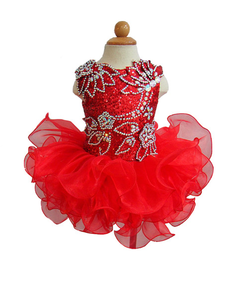 Baby Girls Sequined Pageant Cupcake Dress Princess Crystal Bow Birthday Party Short Gowns For Infant Special Occasion Red