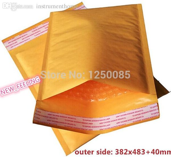 Wholesale-New Made Golden Kraft Bubble Envelope Mailer Air Bag/ Dimension is 382mm x 483mm+40 mm (362x483mm usalbe size) 20cs/lot FD29