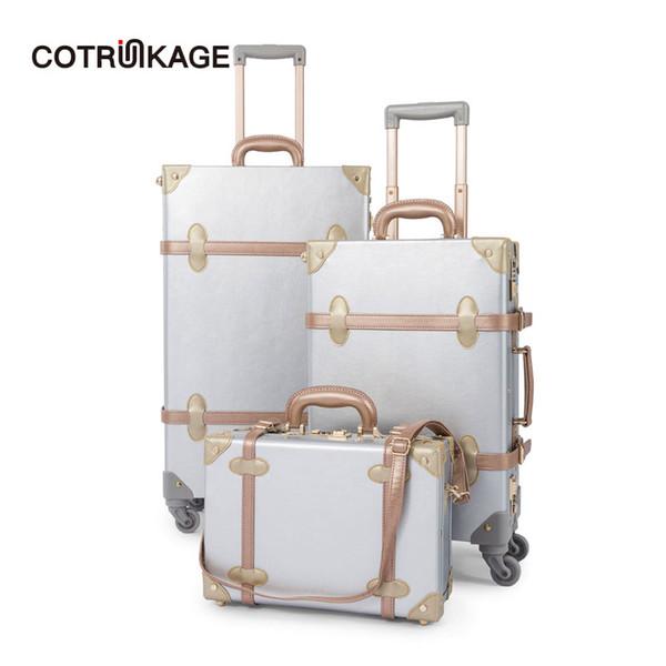 COTRUNKAGE Ensemble de valise en cuir d'unité centrale 3 pièces argent rétro 13
