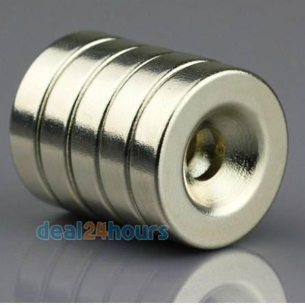 OMO Magnetics 10pcs Super starker runder Neodym-Senkring-Ringmagnet 20 x 5 mm Loch: 5mm seltene Erde N5