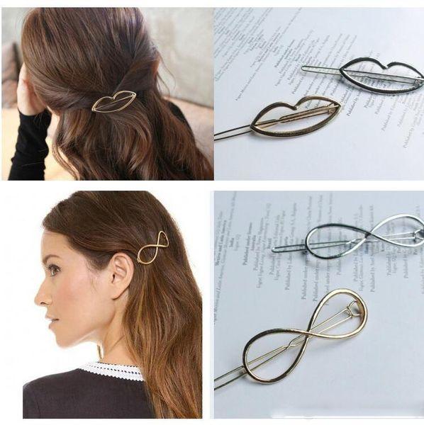 New Geometric Metal Hair clip Women Girls Hair Clips Gold/Silver Plated Hair Accessories Fashion Star Moon Diamond Hairpins Circle Holder