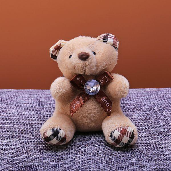 Cute Animal Bear Keychain Plush Bag Key Holder for Bag Charm Hanging Charm Key Ring Pendant Leading Big Crystal knot Doll Toy