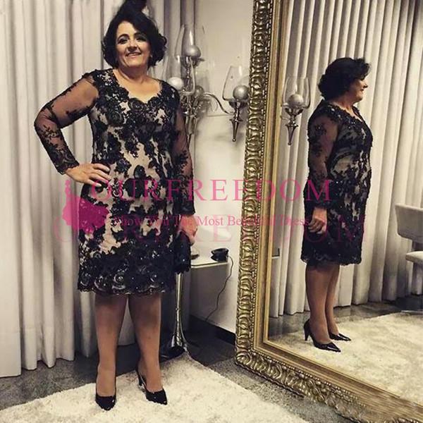 2019 Zarif Artı Boyutu Uzun Kollu anne Gelin Elbiseler Scoop Boyun Diz Boyu Siyah Dantel Aplikler Damat anneler Elbiseler