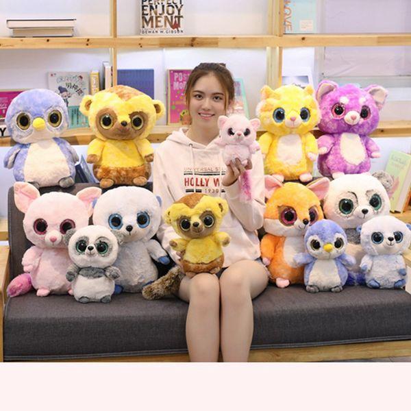 25cm/40cm Super Cute Big Eyes Penguin&Monkey Plush Toy Soft Cartoon Animal Panda&Fox Stuffed Doll Baby Appease Toys Kids Gifts