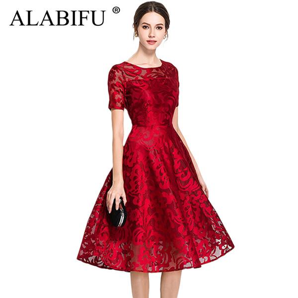 Atacado 2019 summer dress mulheres sexy manga curta lace dress elegante plus size vestido de baile vestido de festa vestidos de dama de honra vermelho