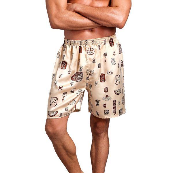 Uomo Shorts Streetwear Uomo Casual Pantaloncini Casual da uomo Estate Stampa allentata Indumenti da notte Pigiama Satin di seta W415