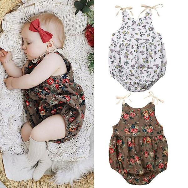 top popular Infant newborn baby girl flower ruffles romper floral printing jumpsuit cute baby sleeveless bodysuit kid clothing 2020