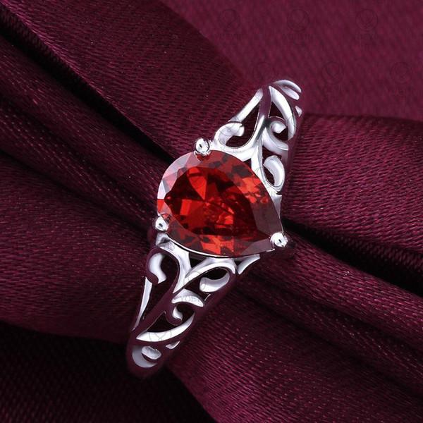 Kadınlar Kübik Zirkonya 925 Gümüş Kaplama Çin güzel Toptan Düğün Kristal Kırmızı Gümüş Pırlanta Yüzük Taş Yüzük için Halkalar
