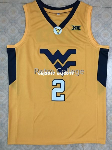 #2 Jevon Carter West Virginia Mountaineers College Basketball Jersey All Size Embroidery Stitched Customize any name vest Jersey ncaa