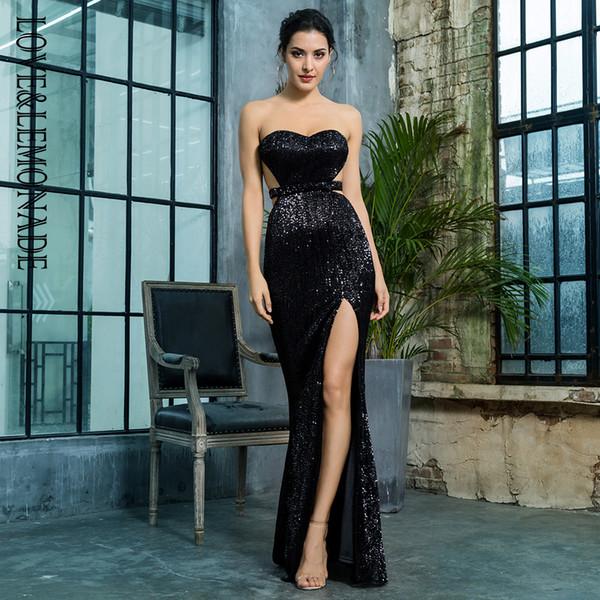 LoveLemonade Soutien-gorge noir dos ouvert au dos dos paillettes plissées mince robe de soirée longue robe LM81335BLACK Q190423