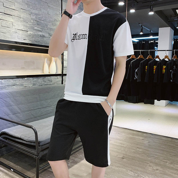 Men's Tracksuits Fashion Casual Sport Suits Letter Embroidery Men Cloth Slim Breathable T-shirts & Shorts Polyester Size M-4XL Wholesale