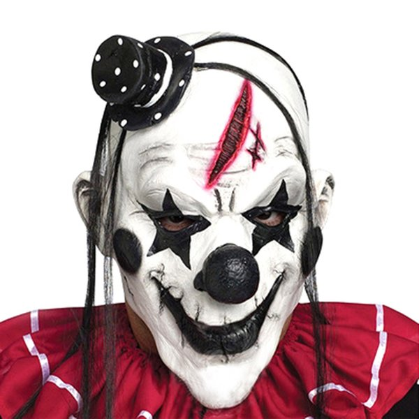 Halloween funny clown mask black and white spoof horror whole person masquerade performance show dress up props