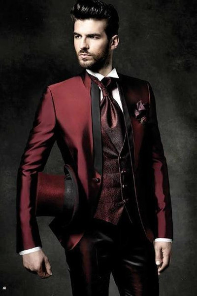 High Quality One Button Shiny Dark Red Groom Tuxedos Stand Collar Groomsmen Best Man Suits Mens Wedding Suits(Jacket+Pants+Vest+Tie)