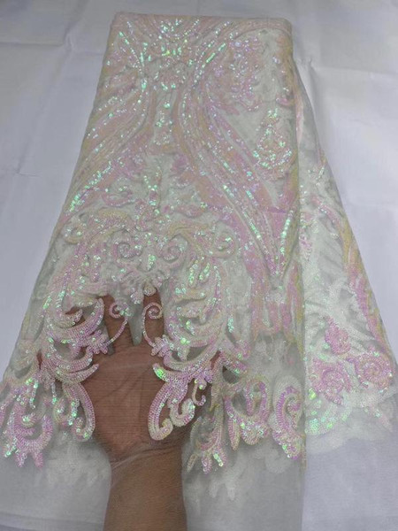 best selling New Sequins Lace Fabric 2020 High Quality Latest Sequins African Lace Fabric Wedding French Tulle Nigerican Wedding