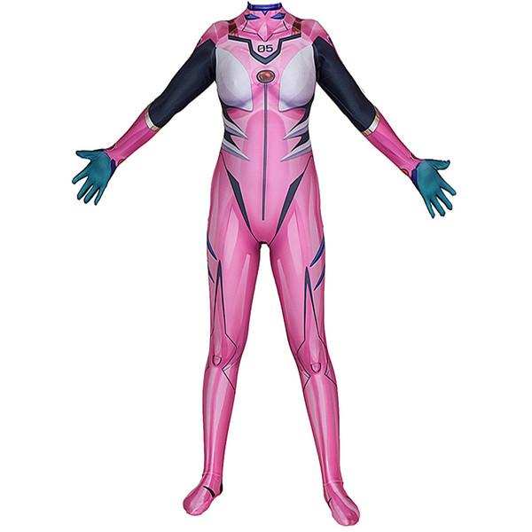Kadınlar Kız Cosplay Kostüm Pembe Cadılar Bayramı Evangelion Mari Lycar Spandex EVA Yüksek Kalite Zentai Bodysuit Sexy Catsuit Jumpsuit