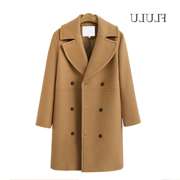 Flulu 2018 Autumn Winter Fashion Women Coats Casual Jackets Long Sleeve Blazer Outwear Female Elegant Wool Double Breasted Coat