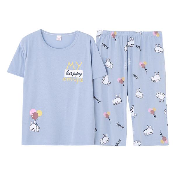Plus Size Light Blue Cartoon Print Pajama Set Summer Casual Pajamas For Women Sleepwear Female Short Sleeve Nightwear M-5XL