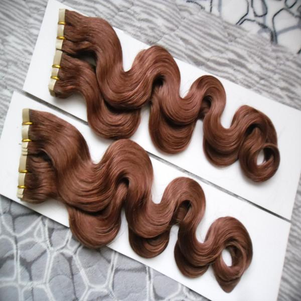 Cinta en extensiones de cabello humano Body Wave 80pcs Remy Cabello en adhesivos Cinta de PU Trama de piel invisible 200g