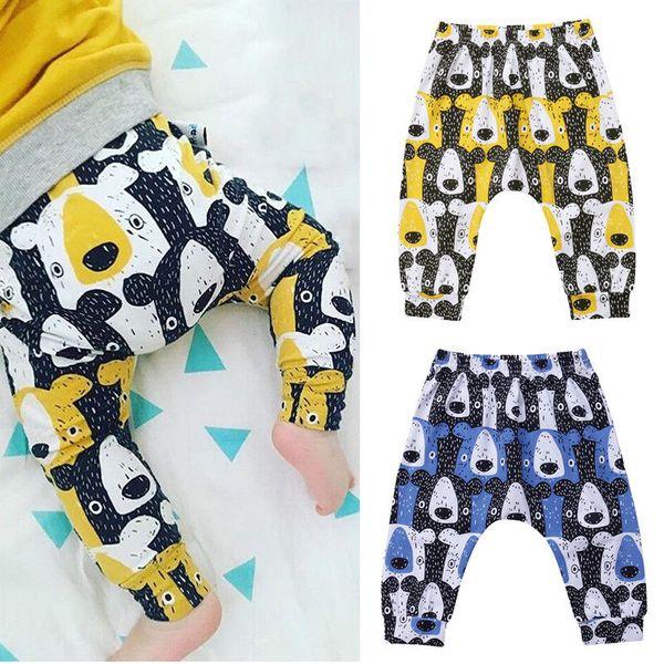 Bebek Erkek Kız Ayı Harem Pantolon Pantolon Hayvan Rahat Çocuk Giysileri Elastik Bel Lacivert Şeritler Katı Çocuk Çocuk Gevşek Jogging Yapan Pantolon