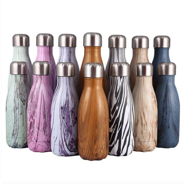 Cola-förmige Wasserflasche Edelstahl Vakuum Isolierschale Doppelwandig Sport Radfahren Wasserflasche 9 Unzen 17 Unzen Holzmaserung Tassen Wasserkocher