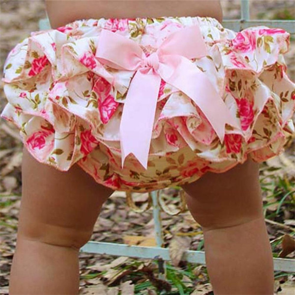 Lucky Children Baby Clothing Floral Silk Bow Satin Shorts Ruffled Diaper Set Bloomer Baby Girl Satin Panties Bloomers